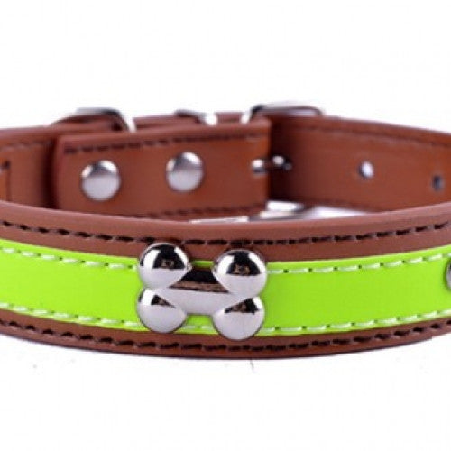 Crystal Studded Reflective Dog Leather Collar
