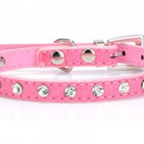 Leather Crystal Rhinestone Pet Collar