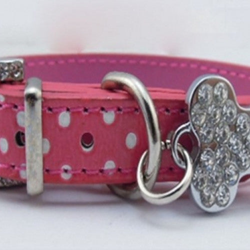 Dot Print Leather Collar With Rhinestones