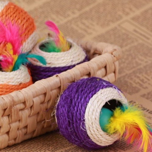 Six Holes Sisal Scratch Ball Pet Toy