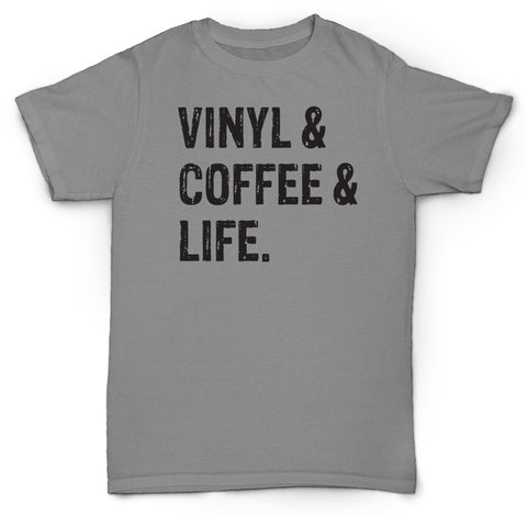 VINYL & COFFEE & LIFE T SHIRT RECORDS COOL NERD BEATS DRE