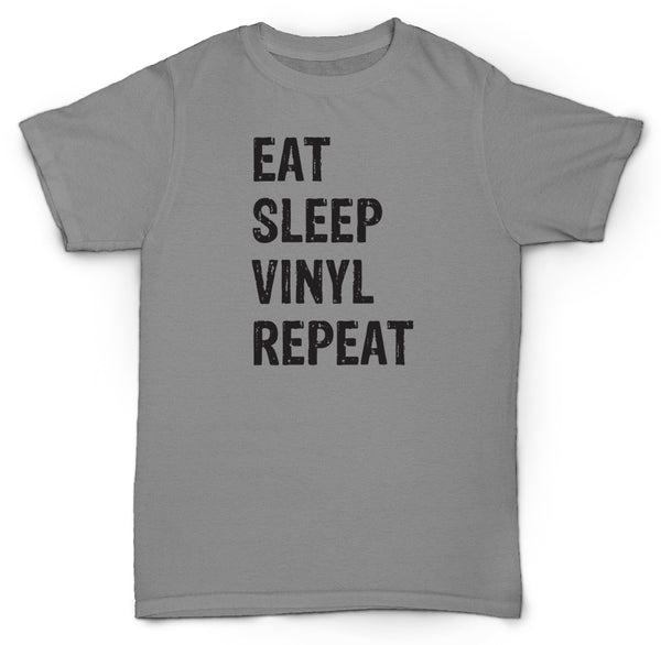 EAT SLEEP VINYL REPEAT T SHIRT RECORDS HIPSTER TURNTABLE 45'S SOUL