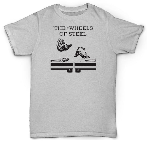 THE WHEELS OF STEAL T SHIRT BONGO BAND HIP HOP TURNTABLE 45 LP