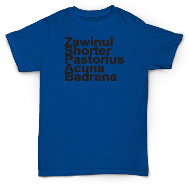 WEATHER REPORT T SHIRT NAMES JAZZ SOUL ZAWINUL VINYL RETRO