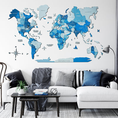 3D Multilayered World Map Color Azure - EnjoyTheWood
