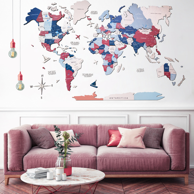 3D Multilayered World Map Color Bubble Gum - EnjoyTheWood