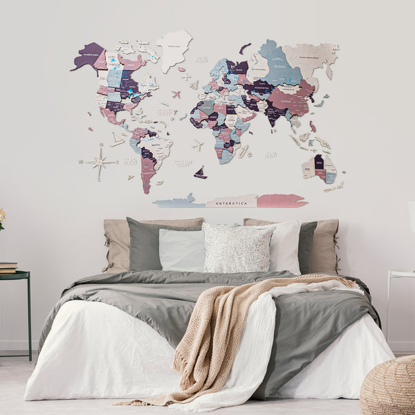 Wooden World Map Cut Out Travel Wall Map Color (#4)