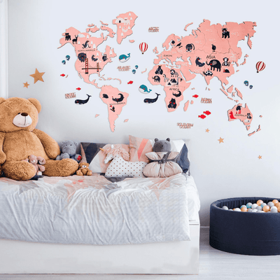 Kids Wooden World Map Pink,  - EnjoyTheWood