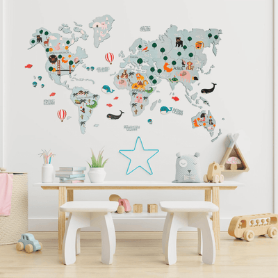Kids Wooden World Map Turquoise,  - EnjoyTheWood