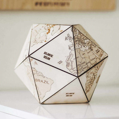 World Globe Office Supplies Wooden Icosahedron - EnjoyTheWood