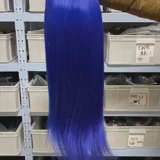 Customized Colored Straight Hair 13x4 Lace Front Wig Pre Plucked 18-30 Inches