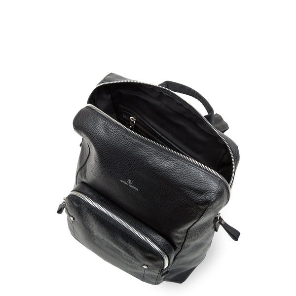 Leather 2 Units Backpack - Nero