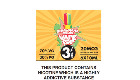 STRAWNANA MELON VAPE POP by FLAWLESS 6 x 10ml 3mg