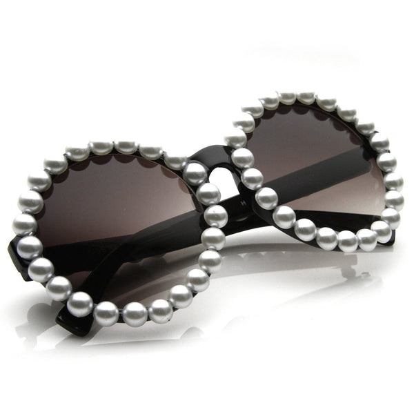Retro Round Black Sunnies Decorated with White Pearls