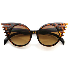 Designer Inspired Brown Wing Shaped Circular Lens Sunnies
