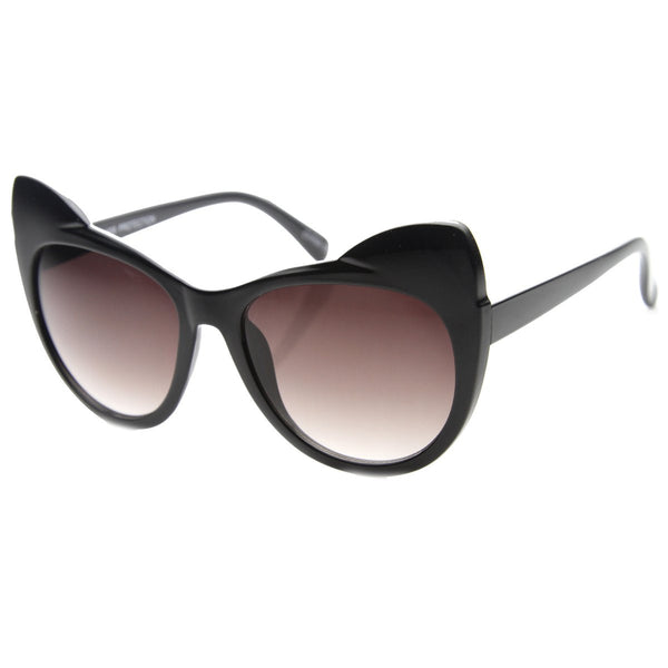 High Pointed Ear Tip Cat Eye Black Sunglasses