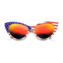 Patriotic American Flag Cat Eye White Sunglasses