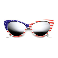 Patriotic American Flag Cat Eye Mirrored Sunglasses