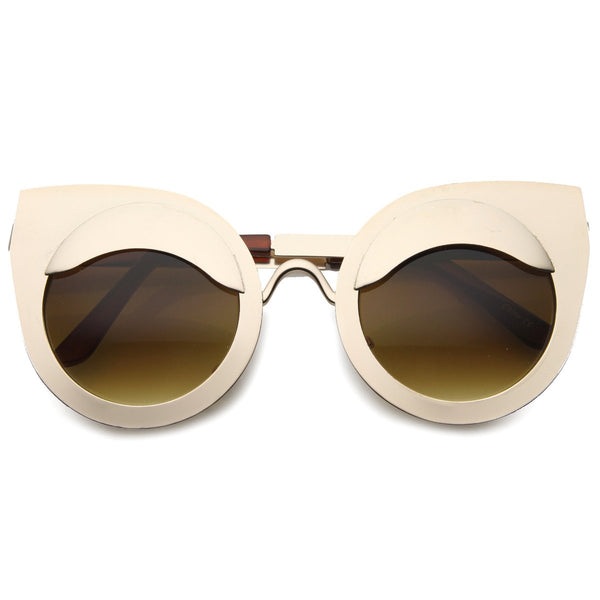 Round Eyelid Cat Eye Gold Sunglasses