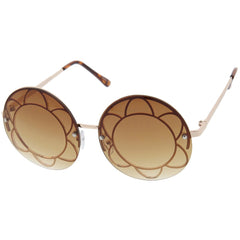 Retro Round Daisy Blue Boho Sunglasses