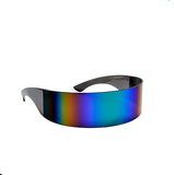 Futuristic Shield Wrap Mirror Sunglasses