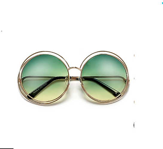 Round Boho Chic Wire Frame Green-Yellow Sunglasses