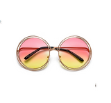 Round Boho Chic Wire Frame Pink-Yellow Sunglasses