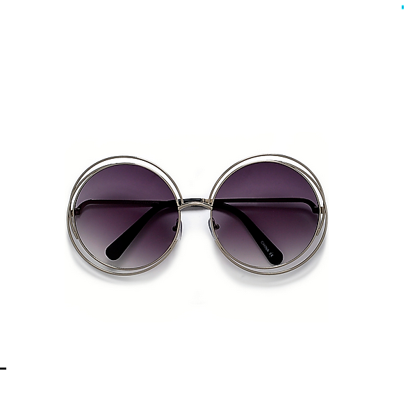 Round Boho Chic Wire Silver Frame Sunglasses