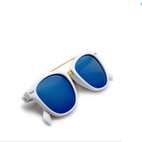 Modern Metal Stylish White Ice Blue Sunglasses