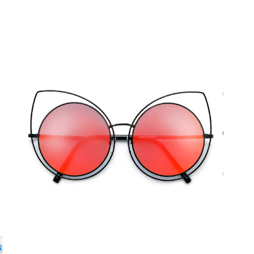 Thin Metal Frame Cat Eye Silhouette Red Sunglasses