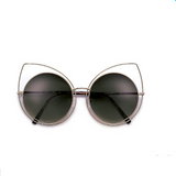 Thin Metal Frame Cat Eye Silhouette Gold Sunglasses