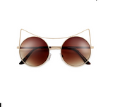 High Pointed Brow Bar Circle Brown Cat Eye Sunglasses