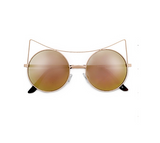 High Pointed Brow Bar Circle Gold Rose Cat Eye Sunglasses