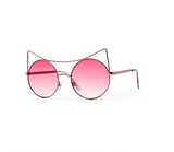 High Pointed Brow Bar Circle White Cat Eye Sunglasses