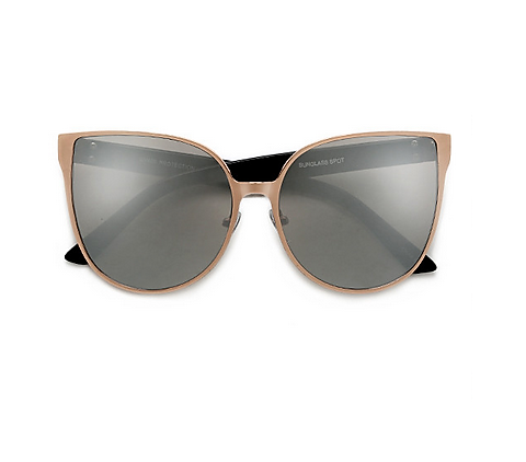 Oversize Reflective Mirrored Cat Eye Sunglasses