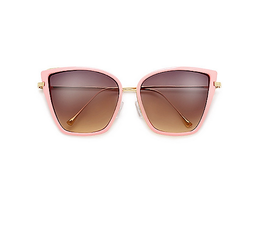 Vintage Pink Metal Outline High Pointed Tip Sunglasses