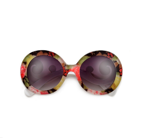 Retro Floral Round Oversize Tropical Sunglasses