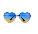 Oversize Colorful Blue-Yellow Heart Shaped Sunglasses