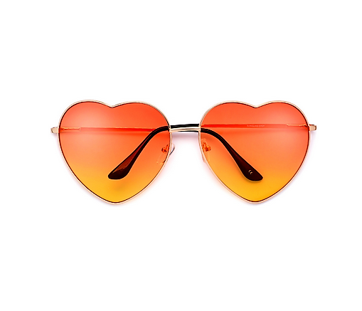 Oversize Colorful Orange Heart Shaped Sunglasses