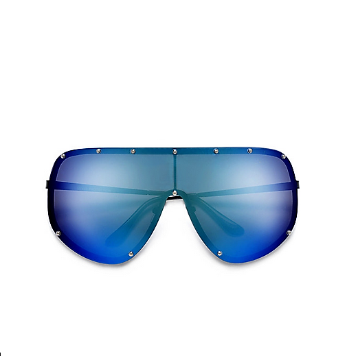 Polarized Studded Oversize Blue Rainbow Sunglasses
