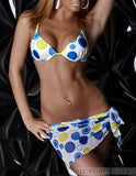 Cute 3 Piece Blue Dot Bikini Set