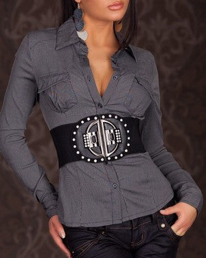 WOMAN SHIRT DENIM GREY