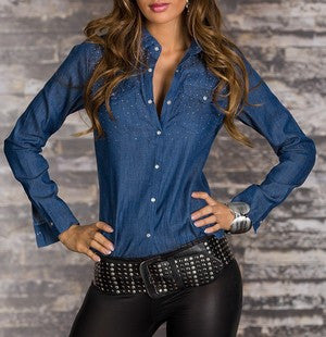 WOMAN BUTTON UP SHIRTS JEANS BLUE