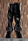 GLOSSY LEATHERETTE PARIS BLACK KNEE BOOTS