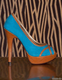 WOMAN BLUE BROWN LEATHERETTE PUMPS AUDREY