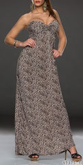 Brown Long Gown Leopard Print Maxi Dress