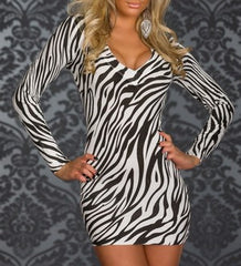 woman mini dress animal black