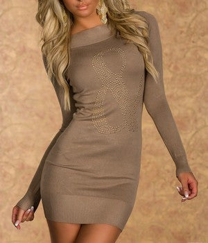 WOMAN MINI DRESS BOW COFFE
