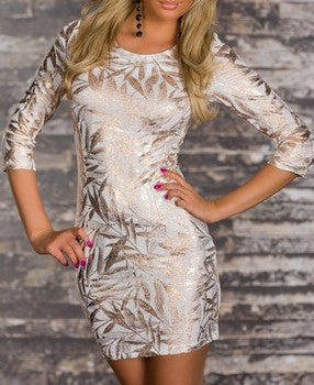 SLEEK LUXURY BRONZE WHITE MINI DRESS