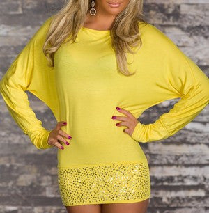 SIMPLY BUTTERFLY SHAPE YELLOW LONG SLEEVE TOP
